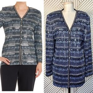 St. John Evening Knit Mezzo & Crystal Trim Jacket